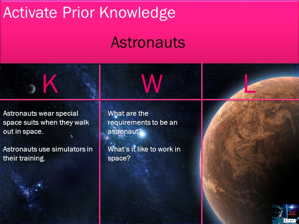 K W L Activate Prior Knowledge Astronauts