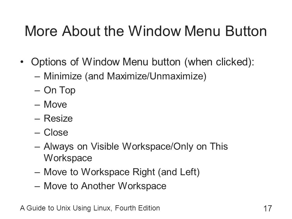 More About the Window Menu Button