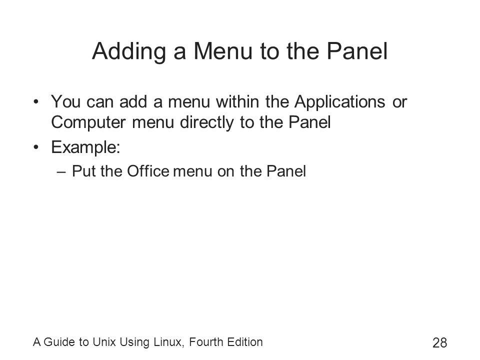 Adding a Menu to the Panel