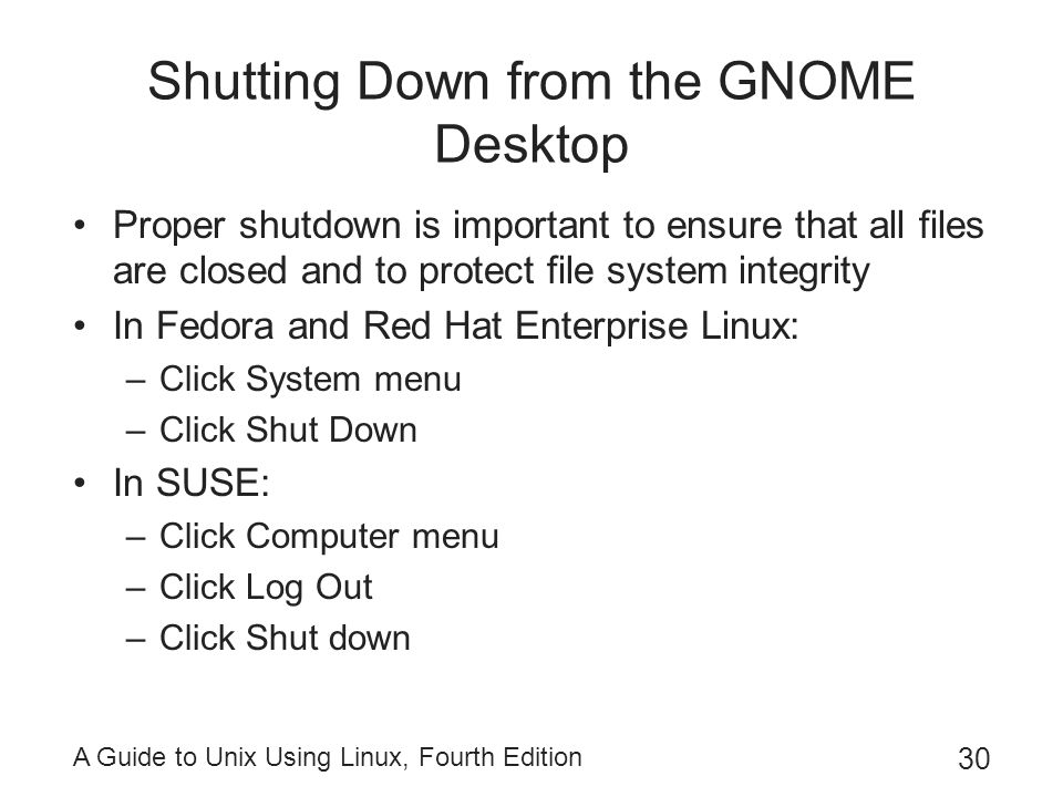 Shutting Down from the GNOME Desktop