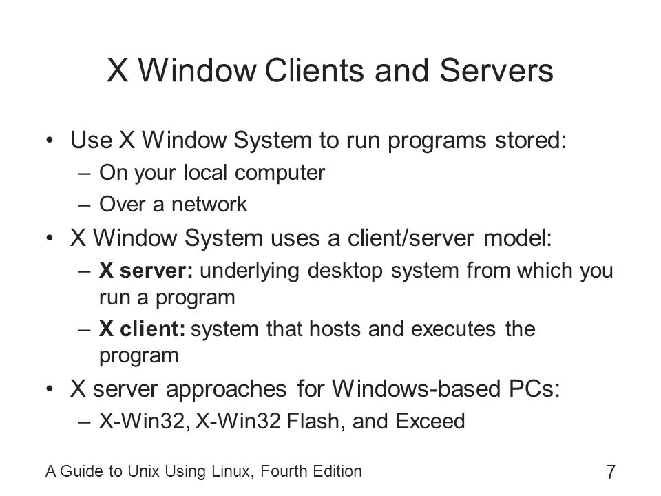 X Window Clients and Servers