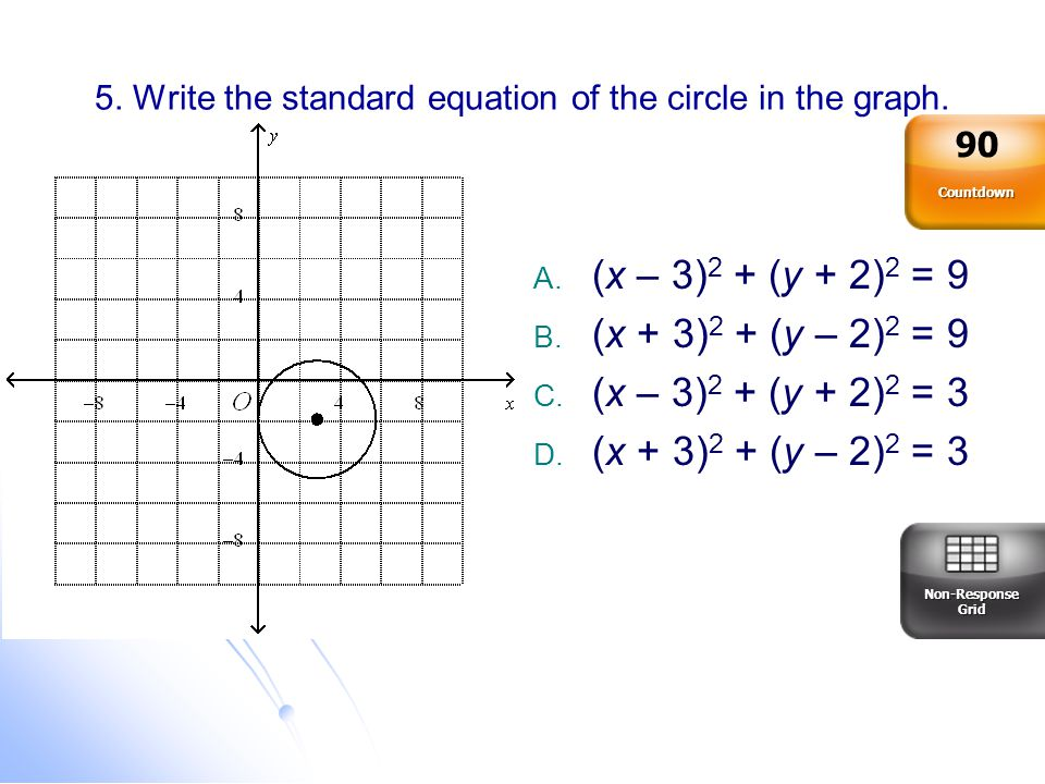 5. Write the standard equation of the circle in the graph.