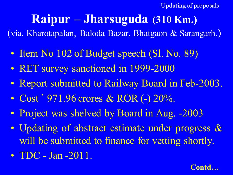 Updating of proposals Raipur – Jharsuguda (310 Km. ) (via