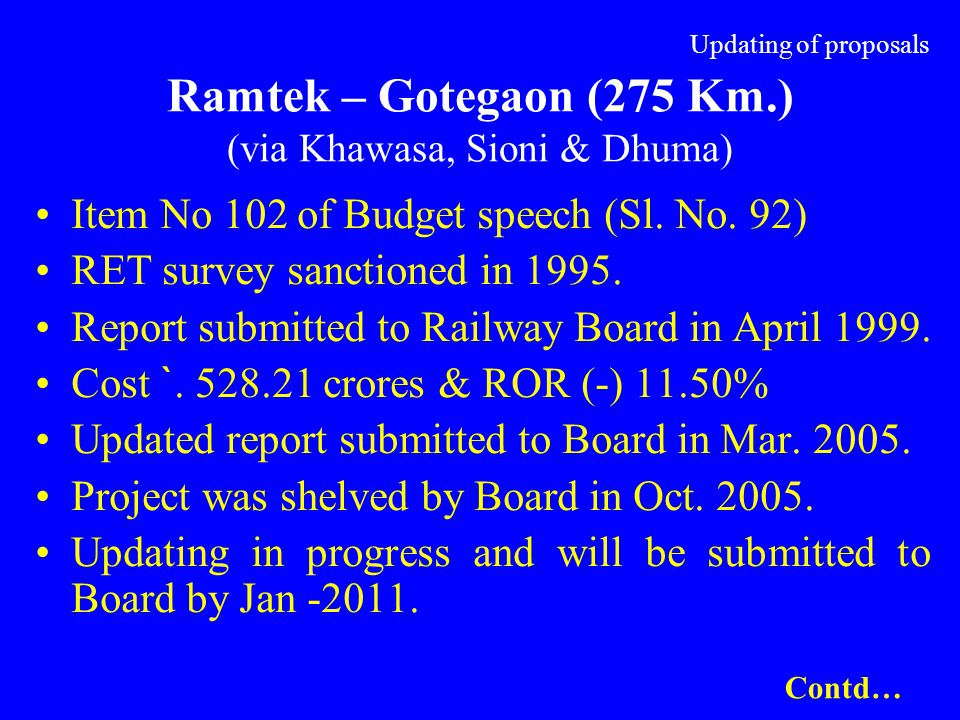 Updating of proposals Ramtek – Gotegaon (275 Km