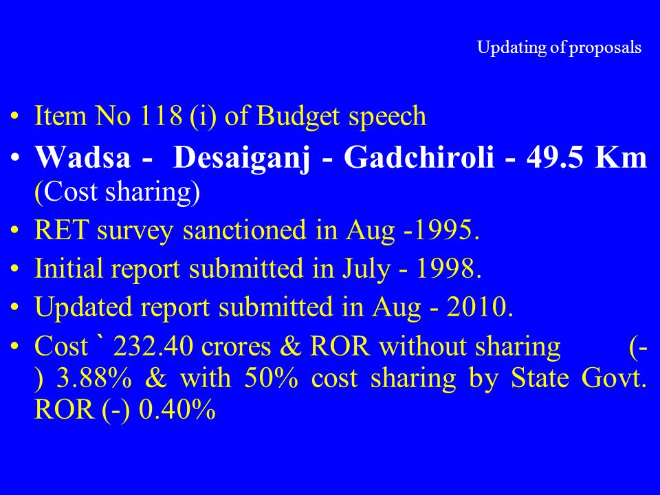 Updating of proposals Item No 118 (i) of Budget speech. Wadsa - Desaiganj - Gadchiroli - 49.5 Km (Cost sharing)