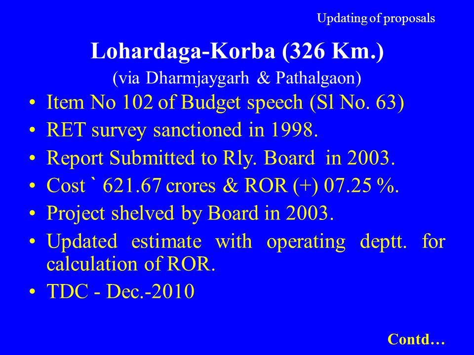 Updating of proposals Lohardaga-Korba (326 Km