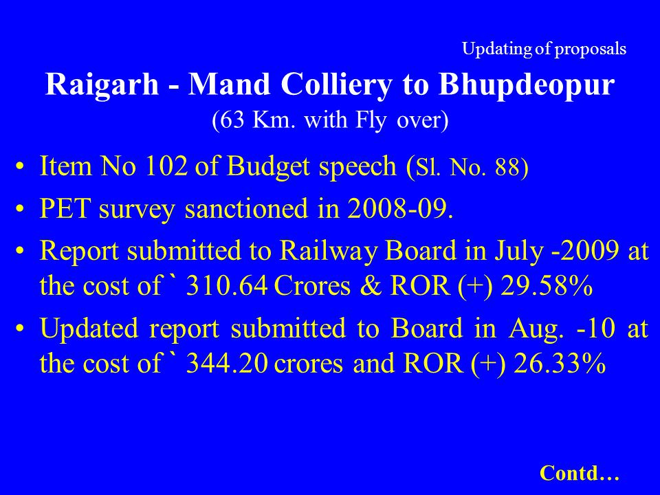 Updating of proposals Raigarh - Mand Colliery to Bhupdeopur (63 Km