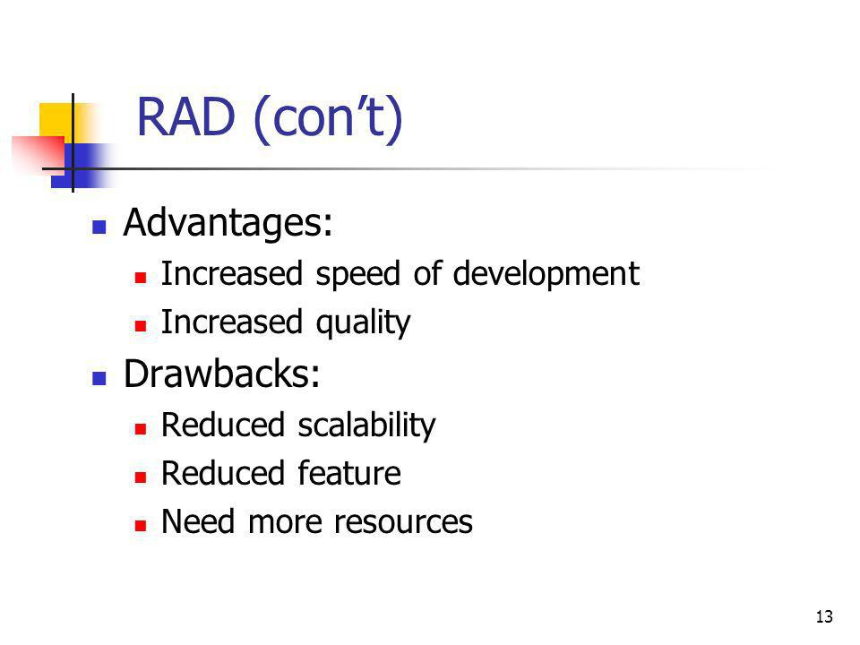 RAD (con't) Advantages: Drawbacks: Increased speed of development