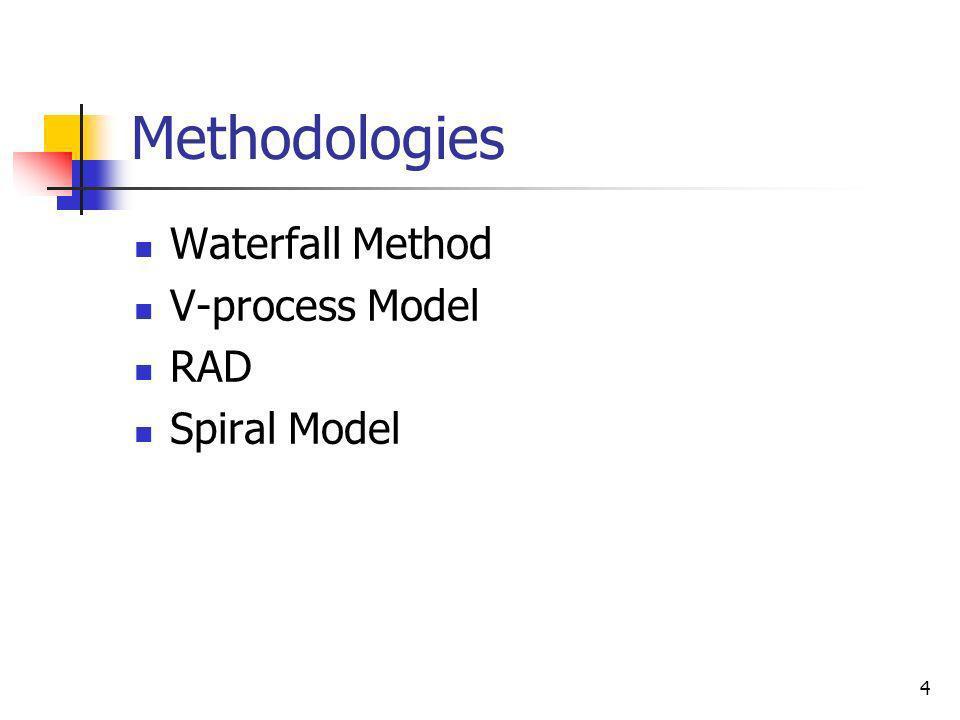 Methodologies Waterfall Method V-process Model RAD Spiral Model