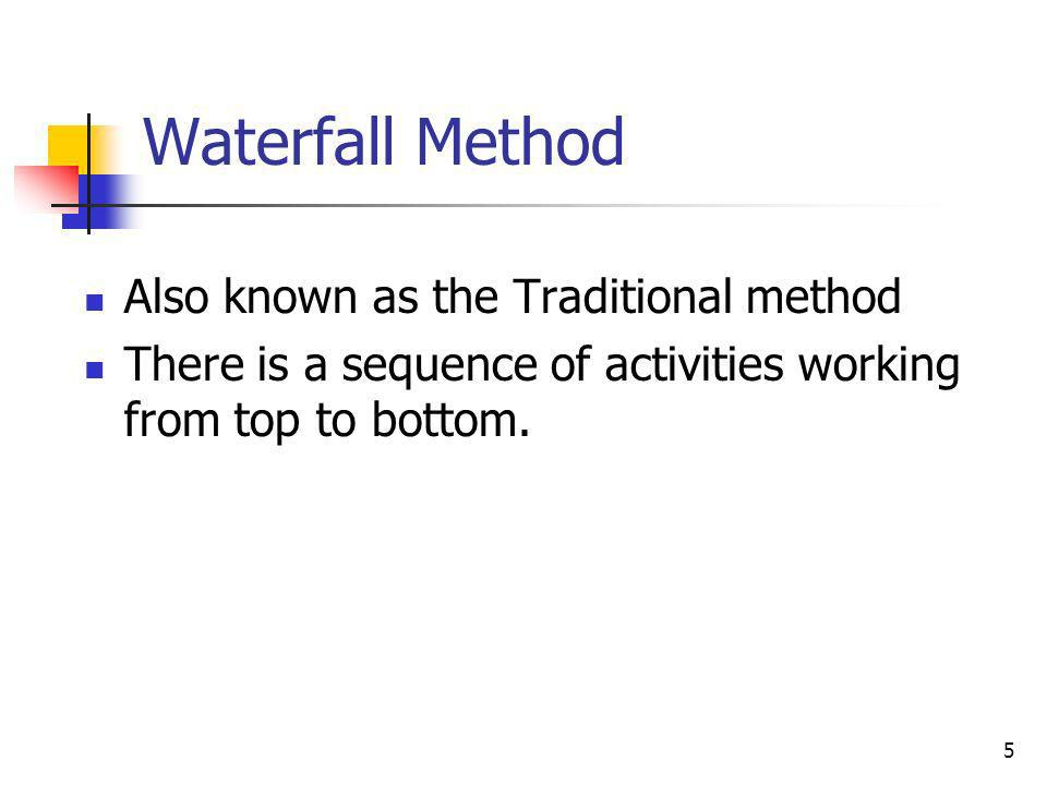 Waterfall Method Also known as the Traditional method