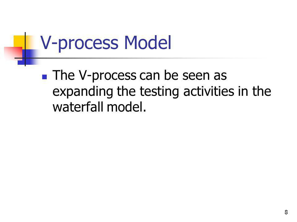 V-process Model The V-process can be seen as expanding the testing activities in the waterfall model.
