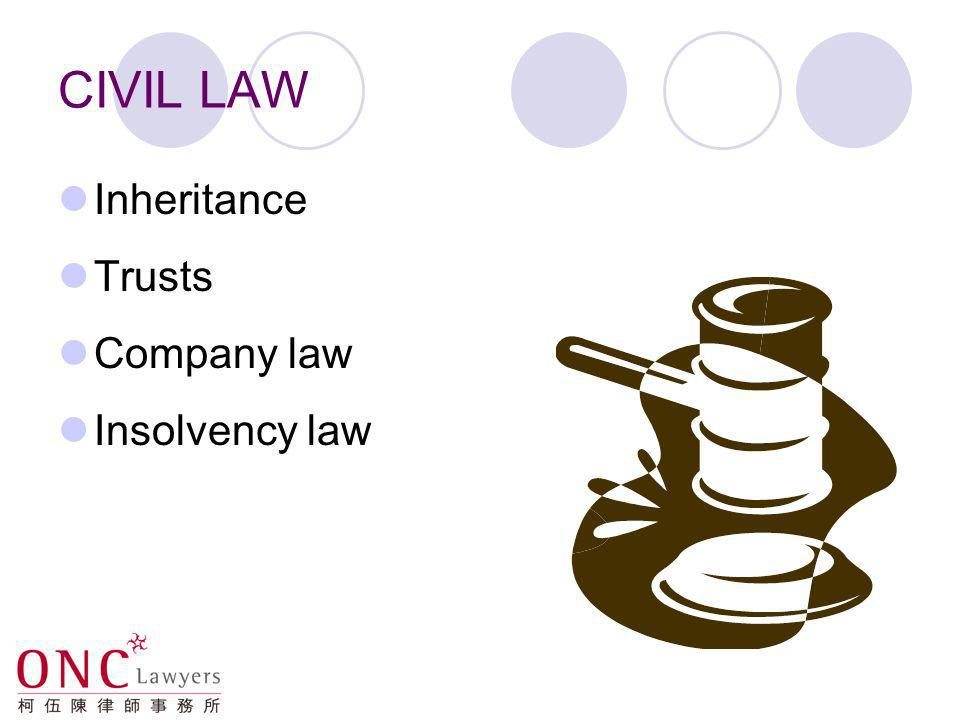 CIVIL LAW Inheritance Trusts Company law Insolvency law