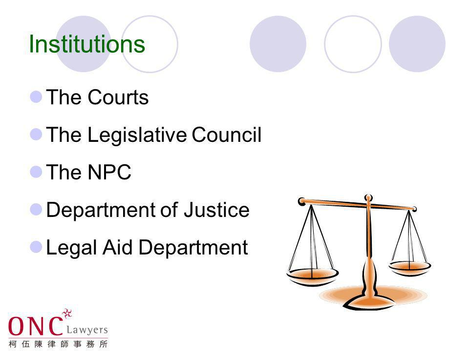 Institutions The Courts The Legislative Council The NPC