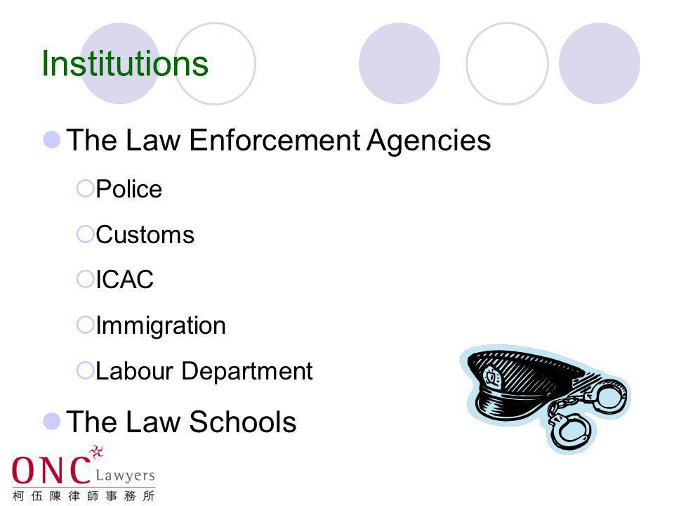 Institutions The Law Enforcement Agencies The Law Schools Police