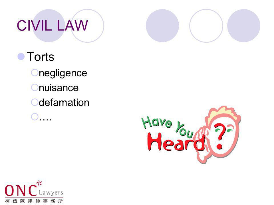 CIVIL LAW Torts negligence nuisance defamation ….