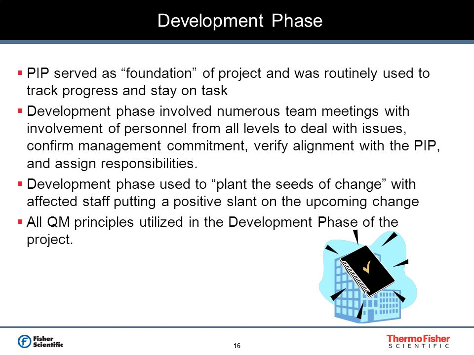 Development Phase PIP served as foundation of project and was routinely used to track progress and stay on task.