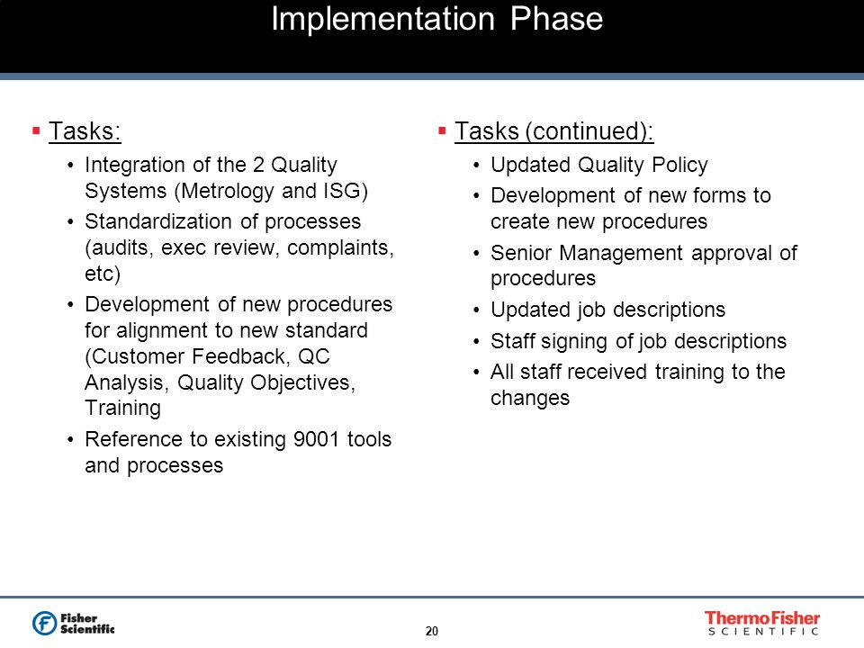 Implementation Phase Tasks: Tasks (continued):