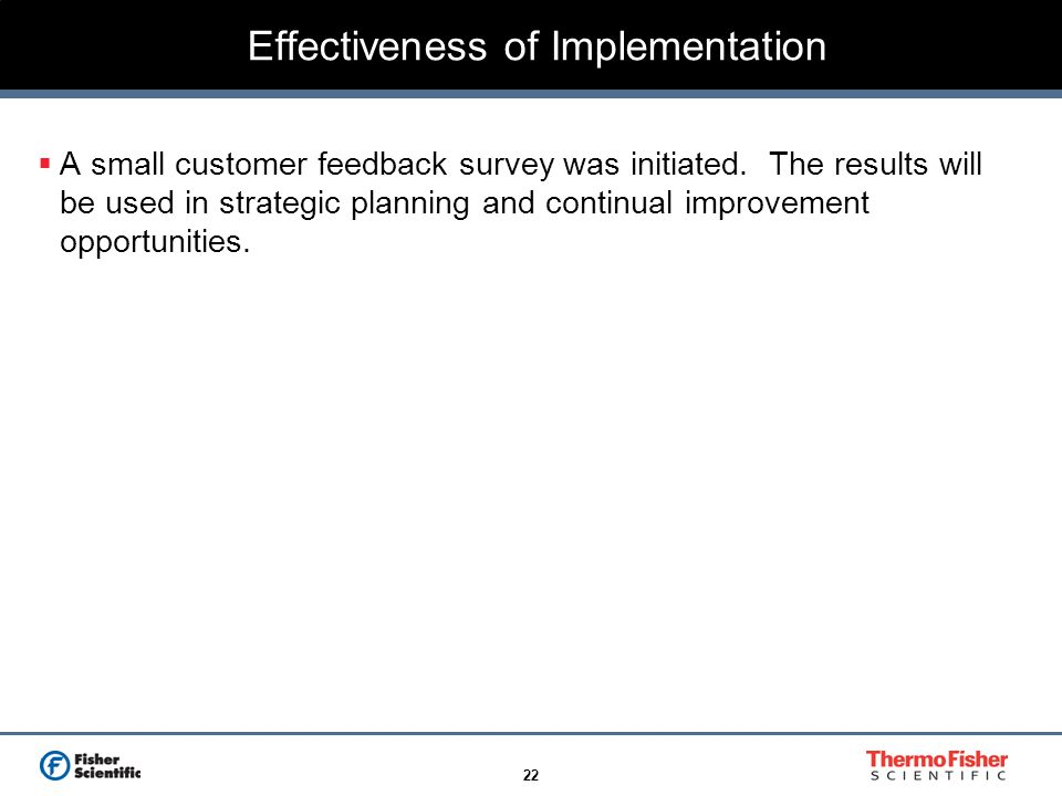 Effectiveness of Implementation