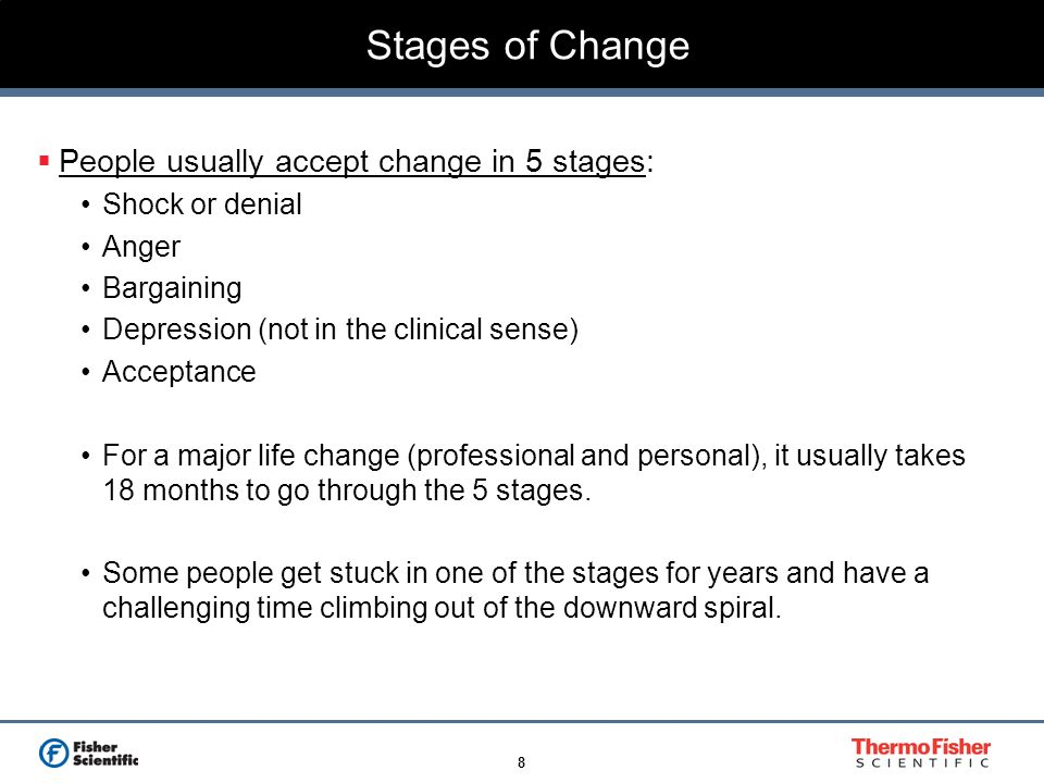 Stages of Change People usually accept change in 5 stages: