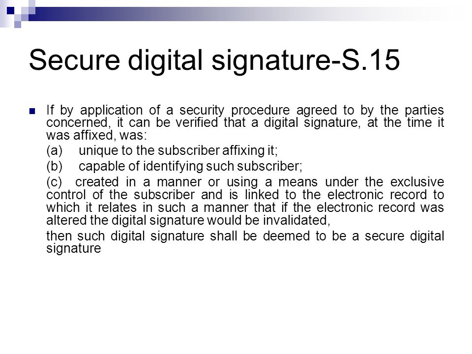 Secure digital signature-S.15