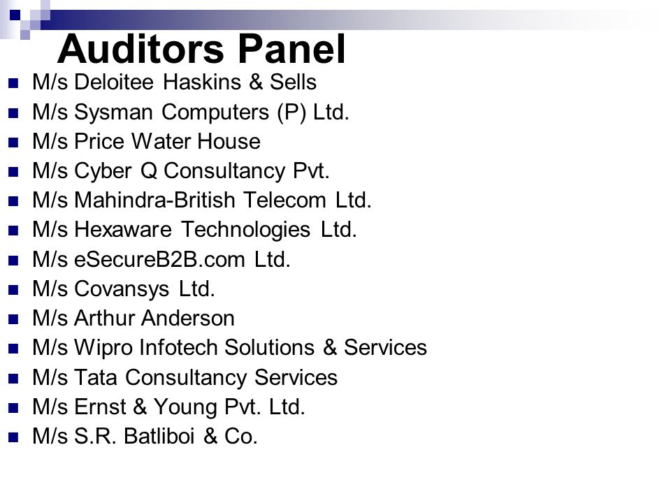 Auditors Panel M/s Deloitee Haskins & Sells