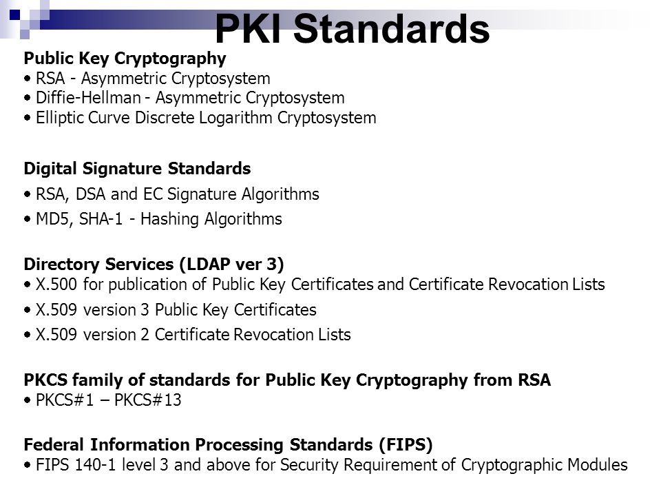 PKI Standards Public Key Cryptography RSA - Asymmetric Cryptosystem