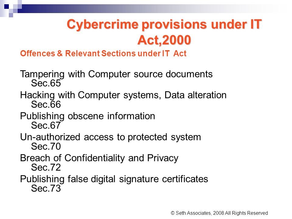 Cybercrime provisions under IT Act,2000
