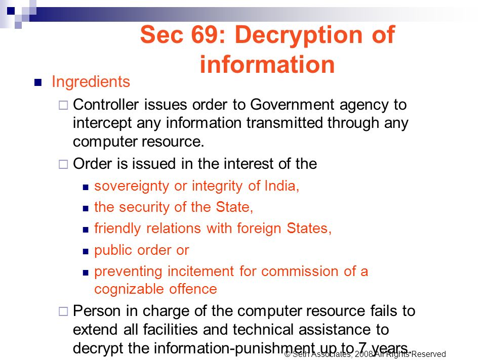 Sec 69: Decryption of information