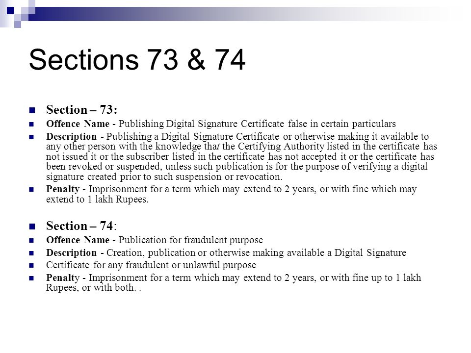Sections 73 & 74 Section – 73: Section – 74: