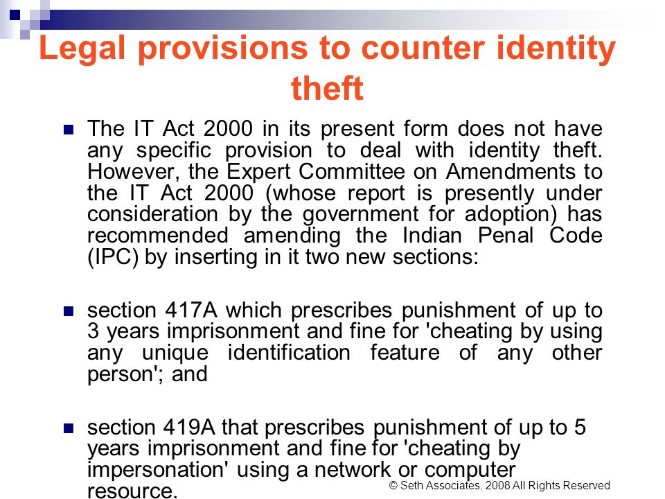 Legal provisions to counter identity theft