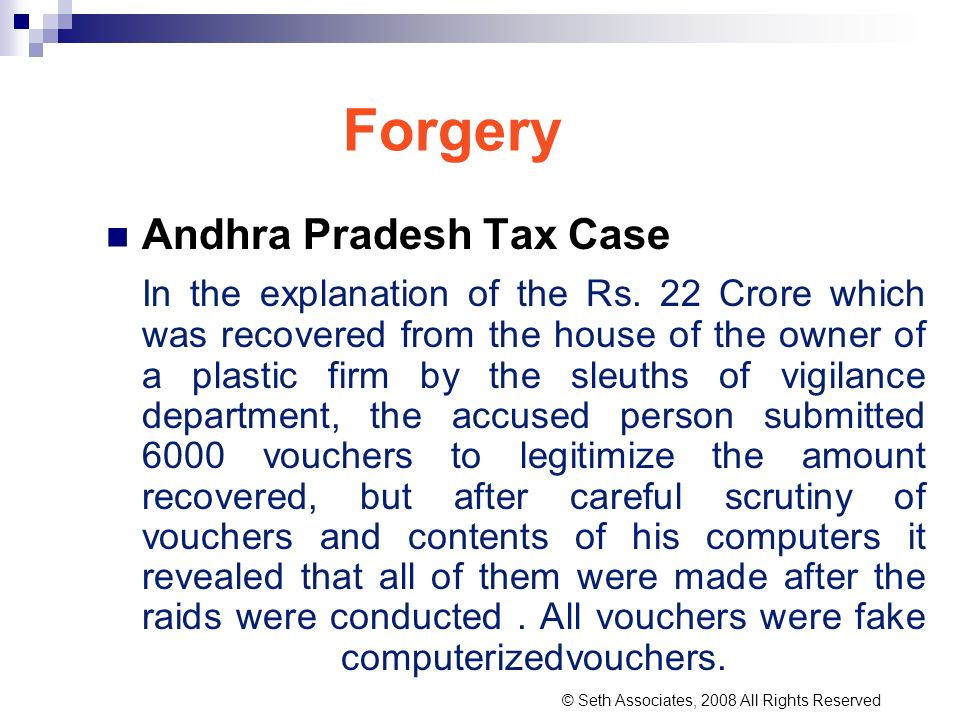 Forgery Andhra Pradesh Tax Case