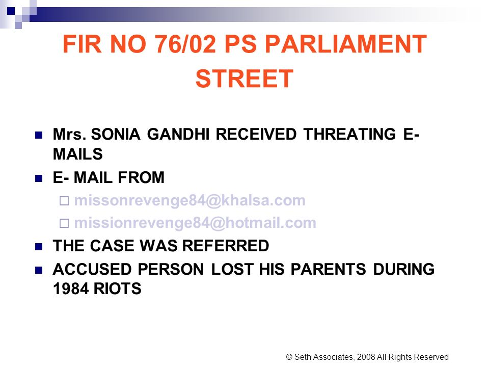 FIR NO 76/02 PS PARLIAMENT STREET