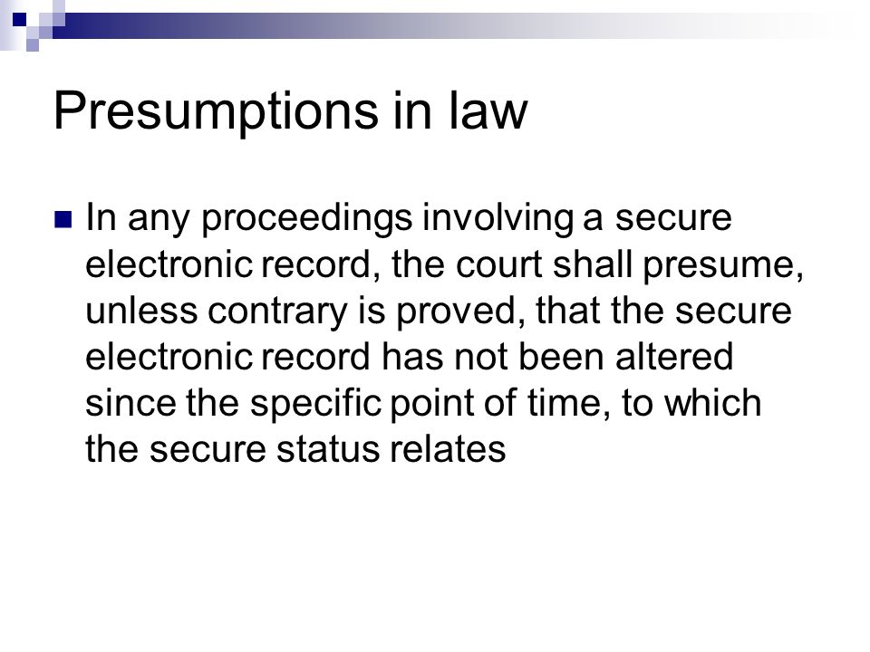 Presumptions in law