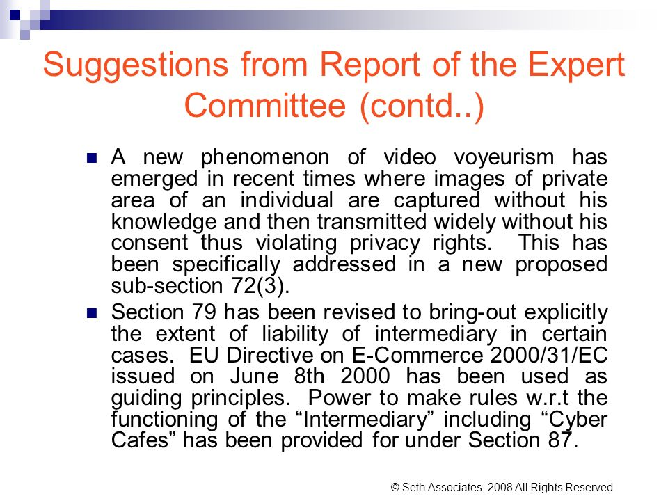 Suggestions from Report of the Expert Committee (contd..)