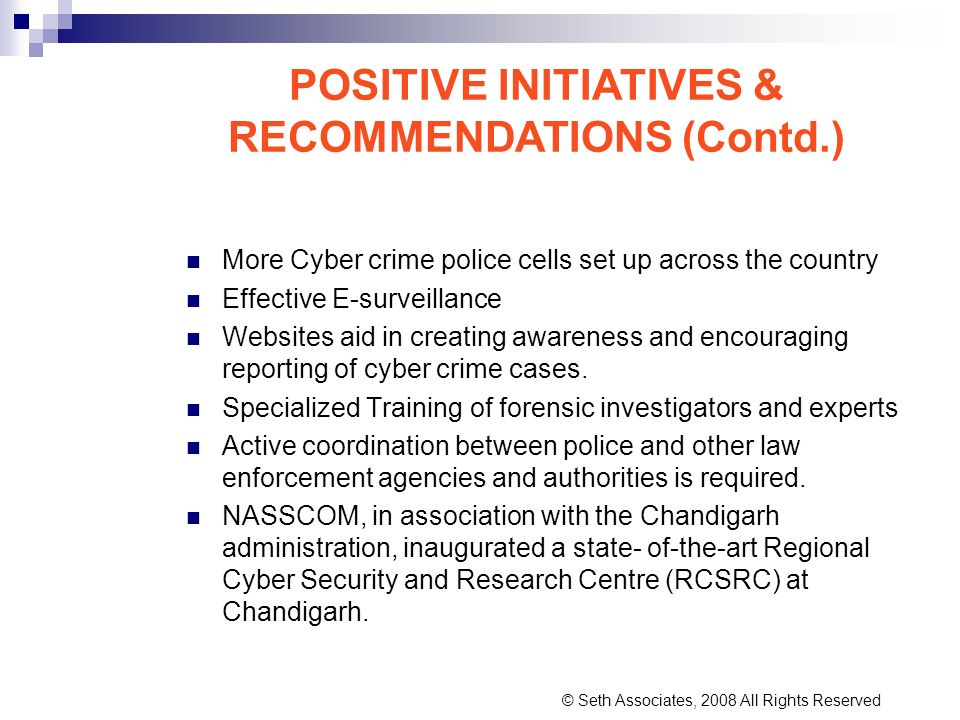 POSITIVE INITIATIVES & RECOMMENDATIONS (Contd.)