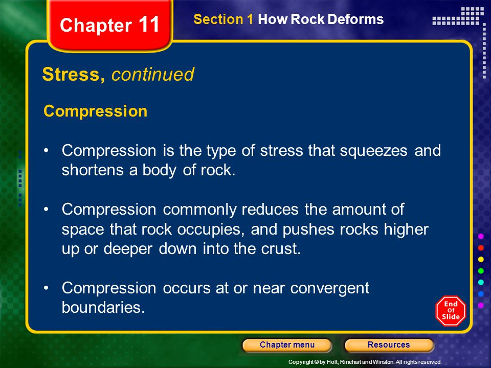Chapter 11 Stress, continued Compression