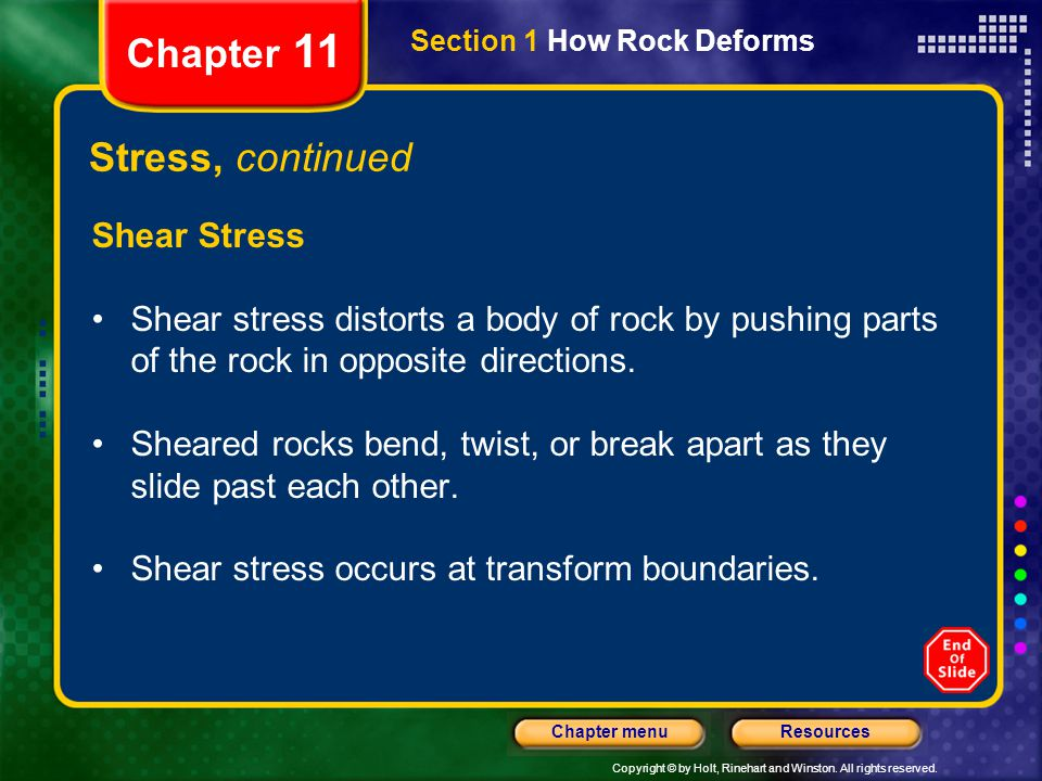 Chapter 11 Stress, continued Shear Stress