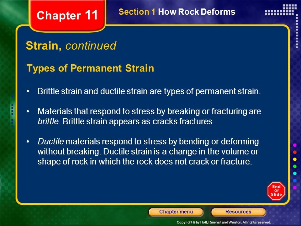 Chapter 11 Strain, continued Types of Permanent Strain
