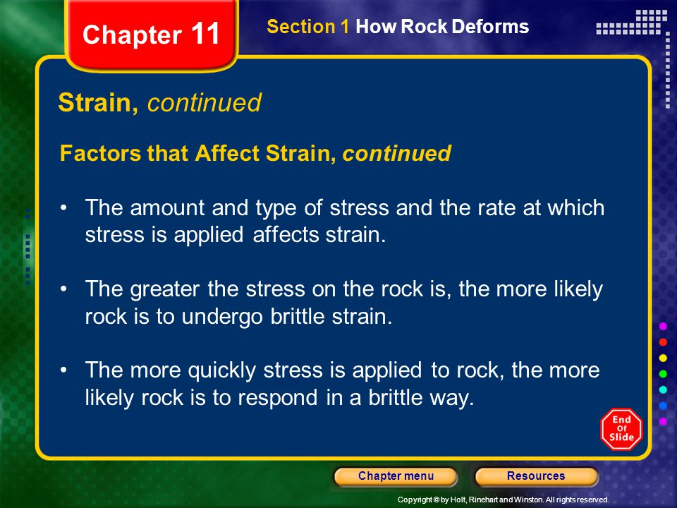 Chapter 11 Strain, continued Factors that Affect Strain, continued