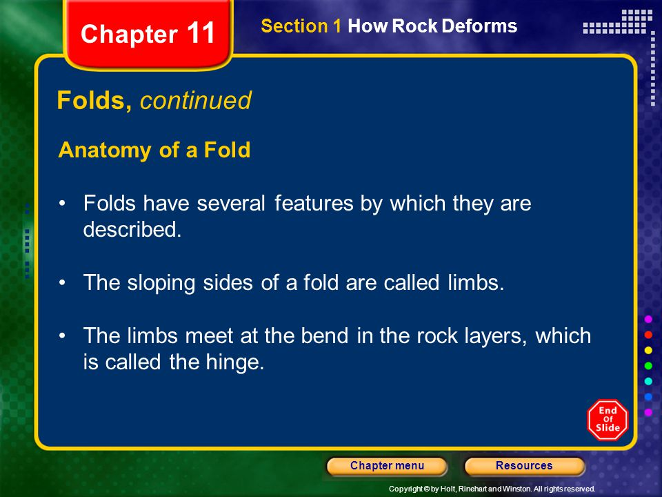 Chapter 11 Folds, continued Anatomy of a Fold