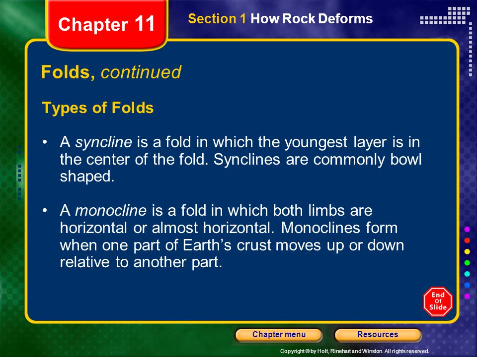 Chapter 11 Folds, continued Types of Folds