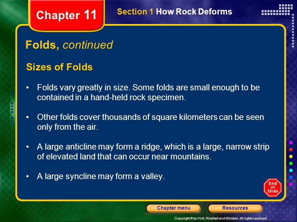 Chapter 11 Folds, continued Sizes of Folds Section 1 How Rock Deforms