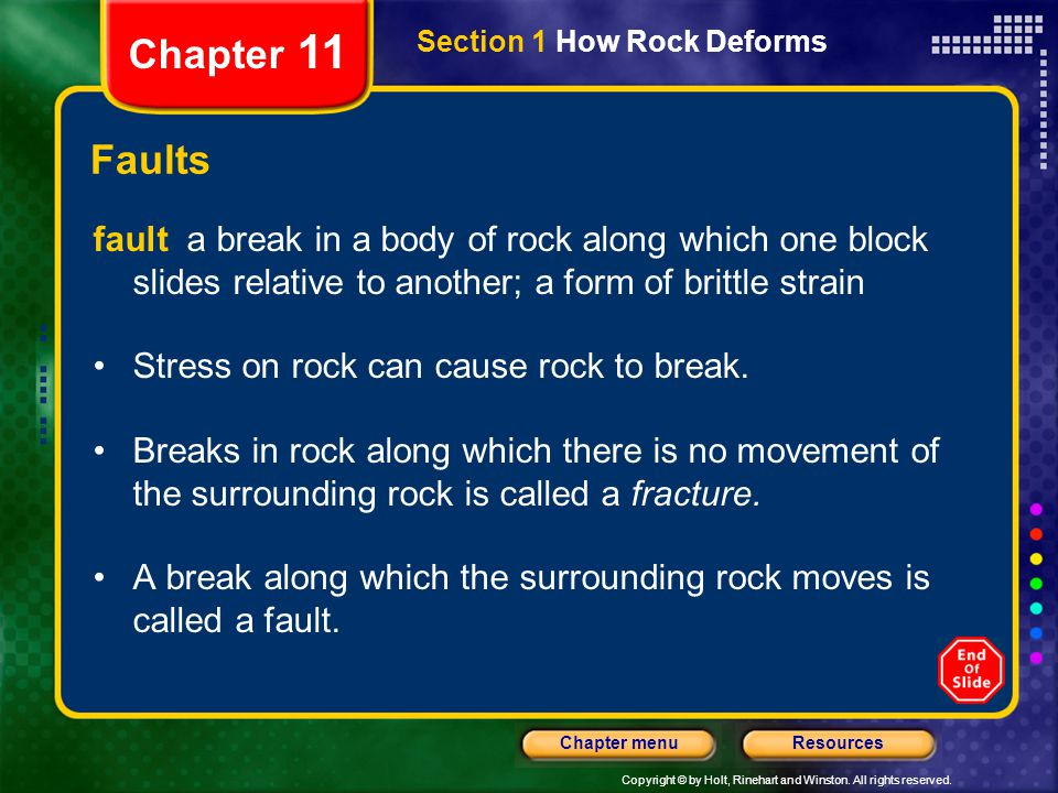Chapter 11 Section 1 How Rock Deforms. Faults.