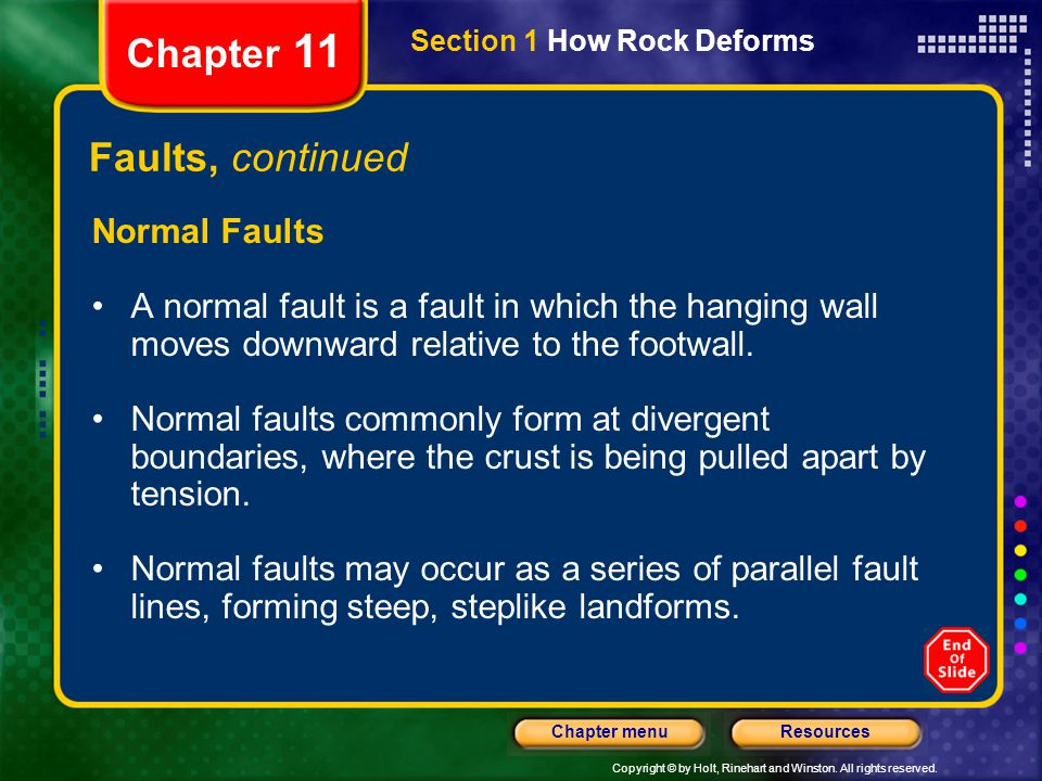 Chapter 11 Faults, continued Normal Faults