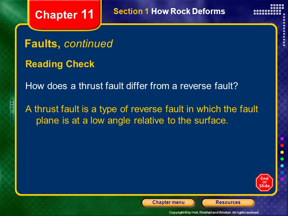 Chapter 11 Faults, continued Reading Check