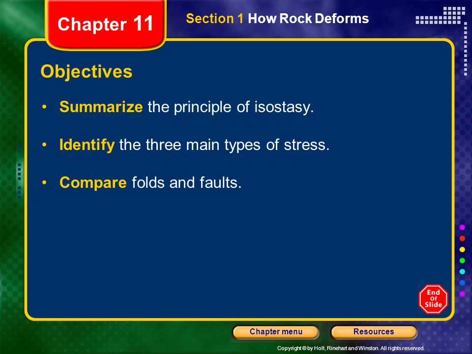 Chapter 11 Objectives Summarize the principle of isostasy.