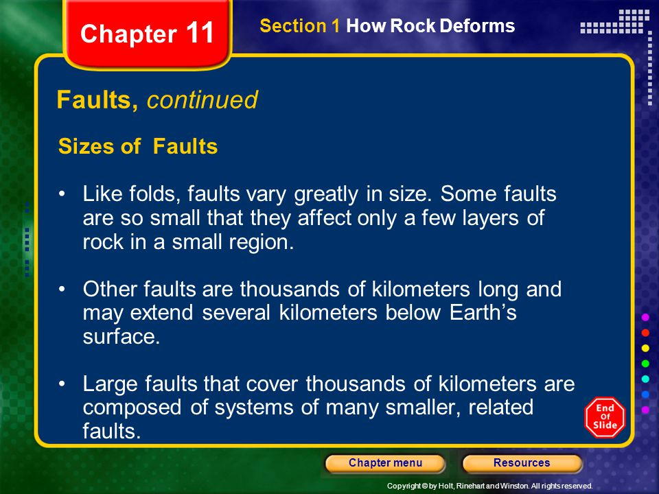 Chapter 11 Faults, continued Sizes of Faults