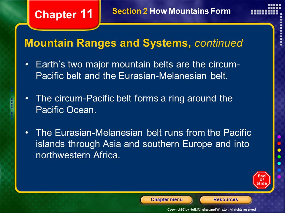 Mountain Ranges and Systems, continued
