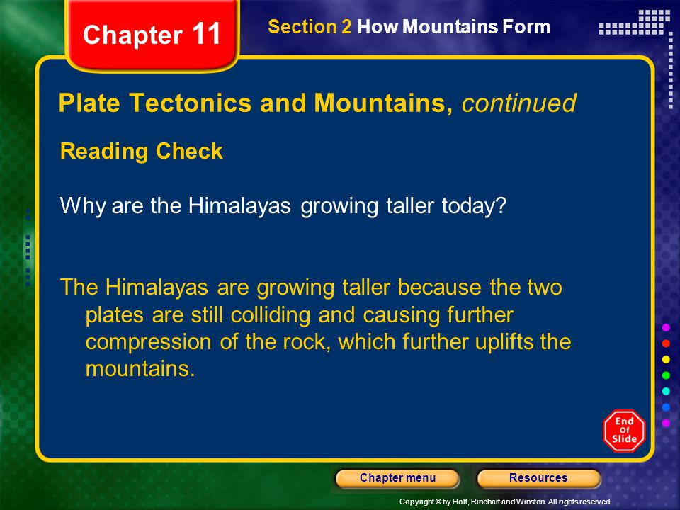 Plate Tectonics and Mountains, continued