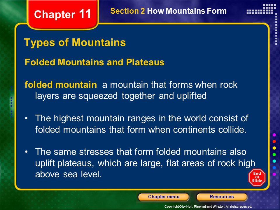Chapter 11 Types of Mountains Folded Mountains and Plateaus